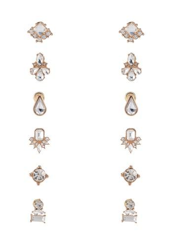 Nitzbergzalora 心得 六入閃鑽耳環, 飾品配件, 耳釘