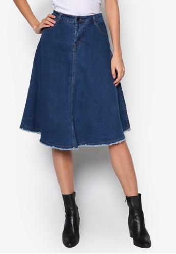 鬢毛傘zalora 包包評價狀丹寧短裙, 服飾, 服飾