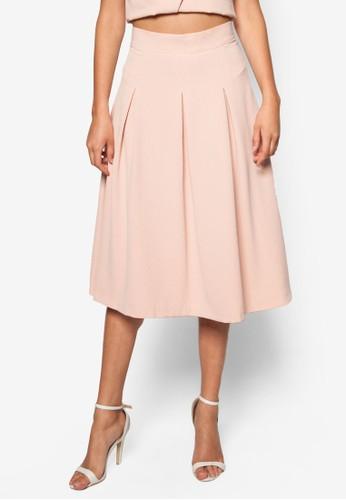 抓褶及膝裙zalora 評價, 服飾, 裙子