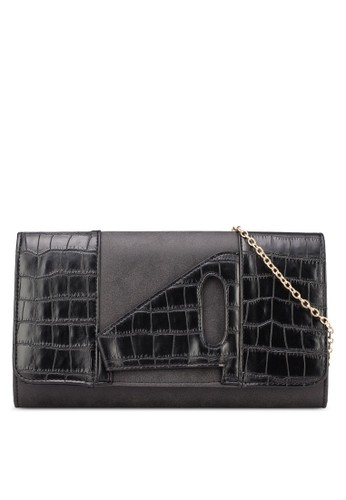 蛇紋拼接翻蓋zalora taiwan 時尚購物網鞋子手拿包, 包, 飾品配件