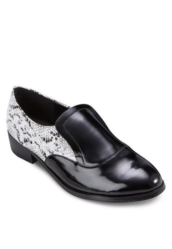 動物紋zalora 心得拼接漆皮樂福鞋, 女鞋, 鞋