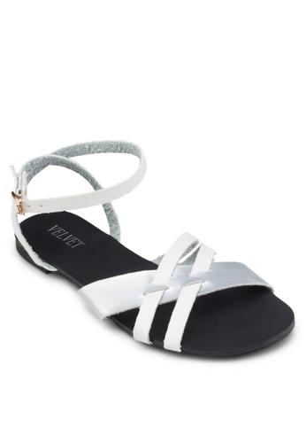 交叉帶繞踝平底涼鞋, 女鞋,zalora 心得 鞋