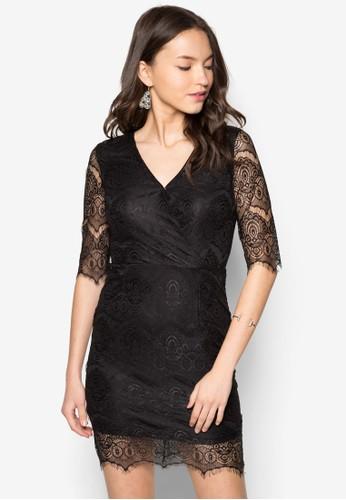 五分zalora 折扣碼袖蕾絲貼身連身裙, 服飾, 洋裝