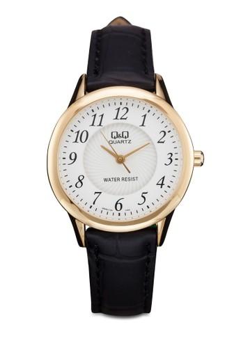 Q&zalora 男鞋 評價Q Q949J104Y 圓框數字手錶, 錶類, 其它錶帶