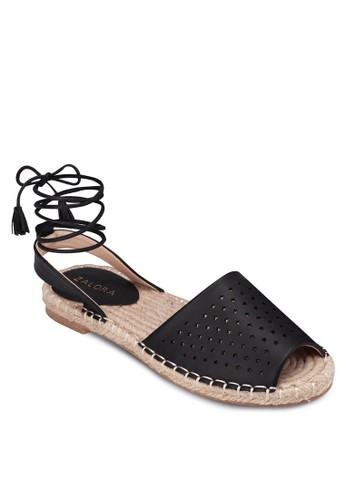 沖孔麻編繞踝涼鞋, 女鞋, 涼zalora 鞋評價鞋