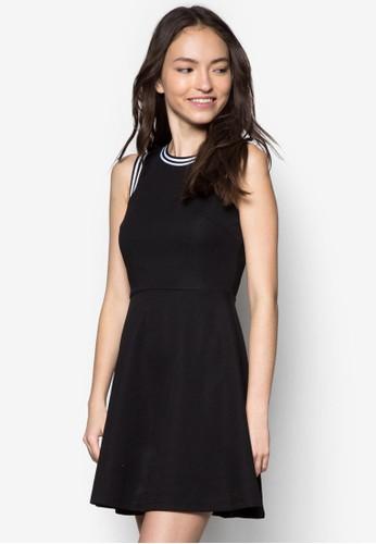 zalora鞋條紋滾邊無袖洋裝, 服飾, 洋裝