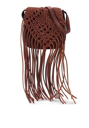 zalora 評價編織翻蓋流蘇側背包, 包, 斜揹包
