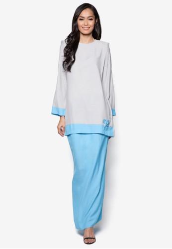 Baju Kurung Modern from Gene Martino in Grey and Blue