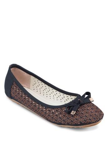 穿孔蝴蝶結豆豆娃娃鞋, 女鞋, 芭蕾平zalora 評價底鞋