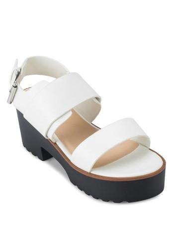 雙寬zalora鞋子評價帶厚底粗跟涼鞋, 女鞋, 厚底鞋
