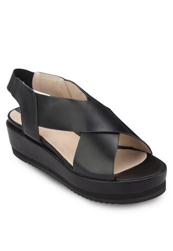 交叉繞踝楔zalora 順豐形涼鞋, 女鞋, 鞋