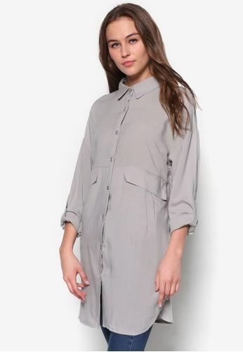 雙口袋長版zalora鞋長袖襯衫, 服飾, 襯衫