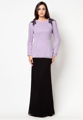 Candy Berry Mini Kurung from Zihan by Shims Mandagie in Black and Purple