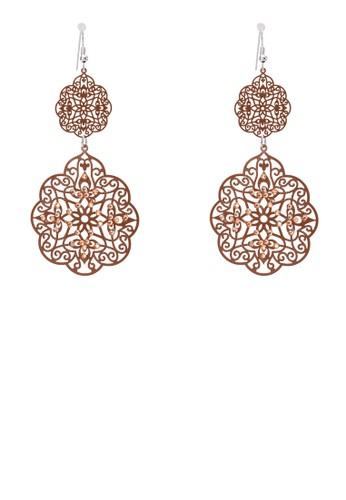 水晶雕花牌飾耳環zalora 台灣, 飾品配件, 耳環