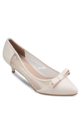 蝴zalora 包包 ptt蝶結網眼拼接低跟鞋, 女鞋, 厚底高跟鞋