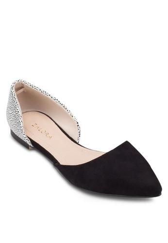 側鏤空尖頭娃娃鞋, 女鞋,zalora 心得 芭蕾平底鞋