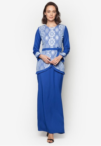 Baju Kurung Modern from Gene Martino in Blue