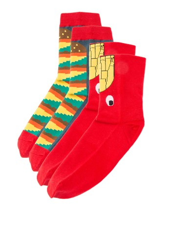 二入逗趣印花襪子, zalora 台灣服飾, 服飾