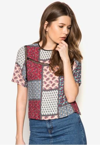 印花拼貼短袖上衣, 服飾, zalora taiwan 時尚購物網鞋子T恤