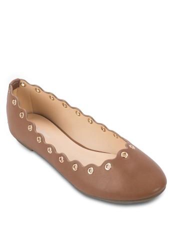 扇貝邊飾金屬孔平底鞋, 女鞋,zalora 心得 芭蕾平底鞋