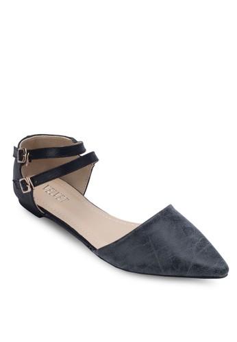 Brooklyn 雙踝帶側空平底zalora退貨鞋, 女鞋, 鞋