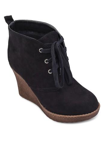 Joetta 仿麂皮繫帶楔形踝靴zalora是哪裡的牌子, 女鞋, 靴子