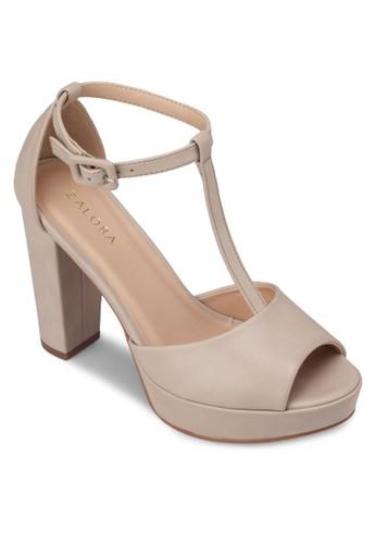 T 字帶厚底粗高跟鞋, 女zalora 心得鞋, 厚底鞋