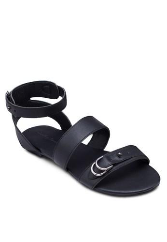 拼色雙扣環繞踝涼鞋zalora 鞋評價, 女鞋, 涼鞋