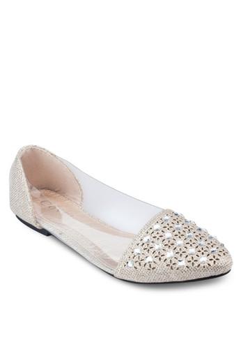 閃飾雕花透視平底鞋, 女鞋zalora 包包評價, 芭蕾平底鞋