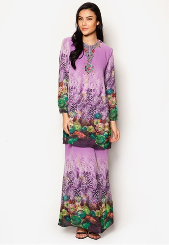 Chiffon With Printed Kurung Moden from Jasmina Collection in Purple