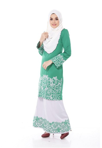Melissa Kurung Modern- Green from Maribeli Butik in Grey and Green