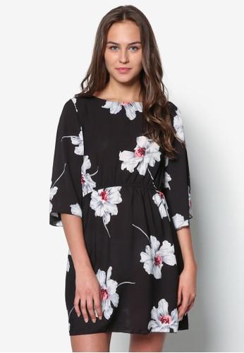 花zalora開箱卉腰飾七分袖洋裝, 服飾, 服飾