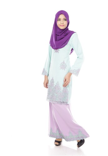 Maribeli Butik Jasmine Kurung – Green (CELADON BABY Purple) from Maribeli Butik in Green and Purple