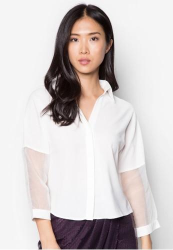 歐根紗拼接長袖上衣, 服飾zalora 台灣, 上衣