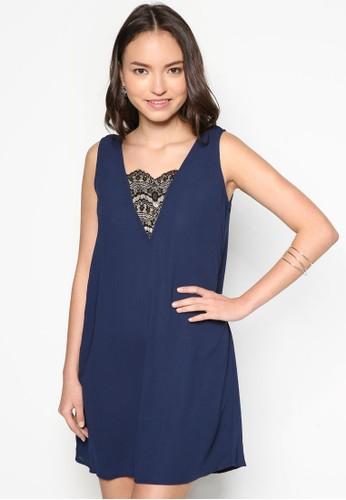 蕾絲拼接直筒連身裙, 服飾zalora退貨, 洋裝