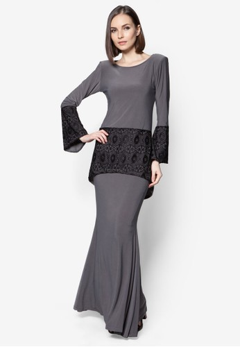 Mullet Lace Midi Kurung from Zuco Fashion in Grey