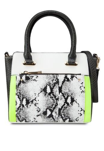 蛇紋撞色拼接托特包, 包,zalora是哪裡的牌子 飾品配件