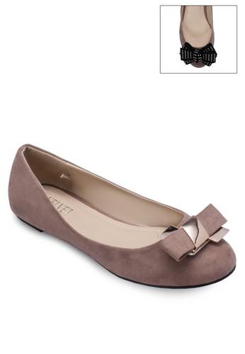 Clickit 蝴蝶結亮面zalora 心得平底鞋, 女鞋, 鞋