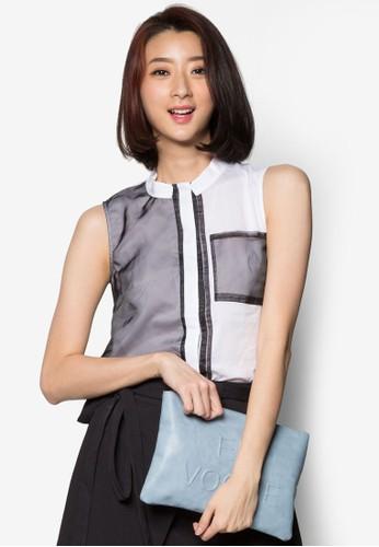 配色口袋立領無袖上衣, 服飾,zalora taiwan 時尚購物網鞋子 上衣