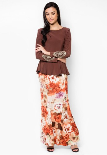 Mermaid Cut Midi Kurung from Zuco Fashion in Brown