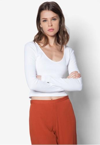 簡約短版長袖zalora taiwan 時尚購物網鞋子衫, 服飾, T恤