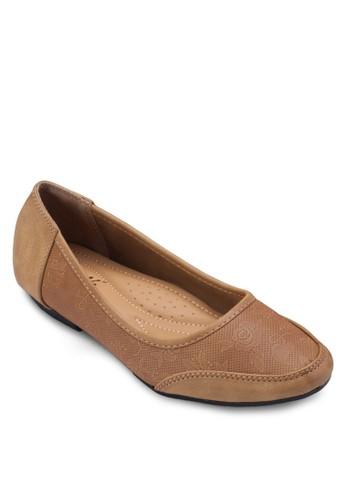 壓花拼接娃娃鞋, 女鞋, zalora 評價芭蕾平底鞋