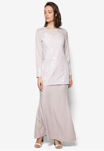 Baju Kurung Modern from Gene Martino in Grey