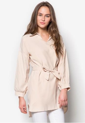 繫帶寬版zalora退貨長袖上衣, 服飾, 服飾