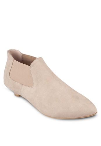 麂皮低根踝靴,zalora 台灣 女鞋, 靴子