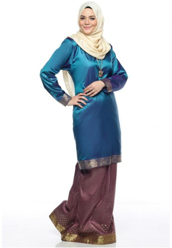 Ileana Kurung Saree from Farha by JZ in Blue and Purple