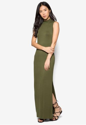 側開zalora鞋衩高領連身長裙, 服飾, 長洋裝