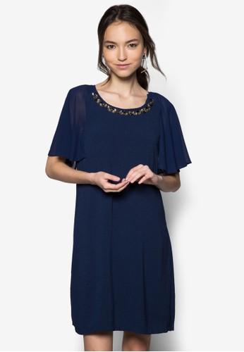 閃鑽圓領荷葉zalora 包包 ptt袖連身裙, 服飾, 派對洋裝