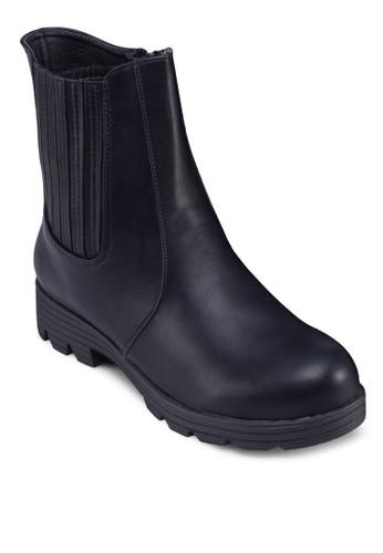 時尚拼接中筒靴, 女鞋, zalora鞋鞋
