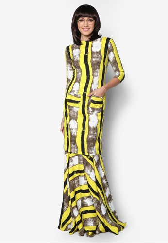 Kurung Lontong from Woo/Fiziwoo for Zalora in Yellow and Multi
